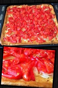 Foto coca cebolla, pimiento y tomate