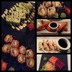 Makis, ebi mitch, gyozas y sashimi