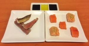 Salmón y caballa marinados, soja y aceite de oliva