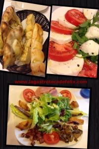 Pan, ensalada Valdostana y ensalada caprese