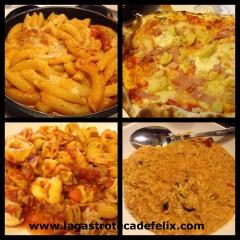 Macarrones al horno, pizza campagnola, boloñesa y risotto